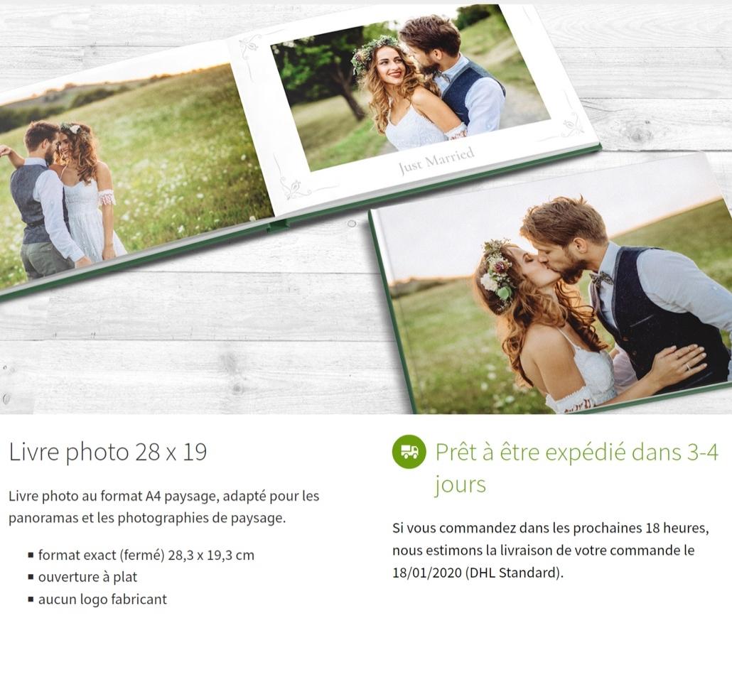 Finitions du livre photo au format A4 28x19,3 à ouverture à plat